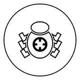 Escarabajo del insecto en imagen simple del ejemplo del vector del color del negro del icono de la vista de la blanco libre illustration