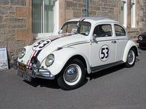 Escarabajo del tipo 1 de VW, hecho en 1964, blanco, reproducción de Herbie imagen de archivo