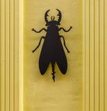Escarabajo negro en una fachada amarilla elegante del edificio, w del metal Fotografía de archivo