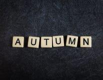 Escarafunchar telhas da letra no outono preto da soletração do fundo da ardósia imagem de stock royalty free