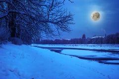 Escarcha en una noche del invierno fotos de archivo