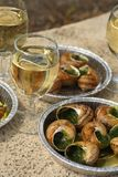 Escargot, aperitivo. Fotografia de Stock