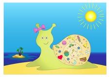 Escargot avec des cadeaux sur l'île Photos libres de droits