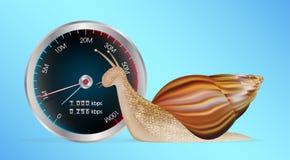 Escargot avec l'essai lent de mètre de vitesse d'Internet illustration stock