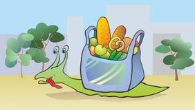 Escargot avec la nourriture Image stock