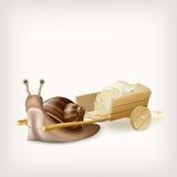 Escargot avec le chariot avec le courrier Image stock