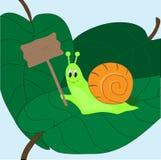 Escargot avec un signe Image stock