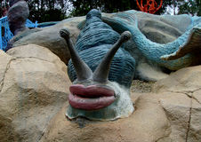 Escargot bleu géant avec les lèvres rouges Photo stock