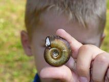 Escargot chez les mains des enfants Photos libres de droits