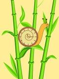 Escargot d'horloge sur le bambou illustration de vecteur