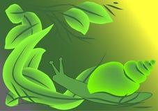 Escargot dans des lames illustration stock