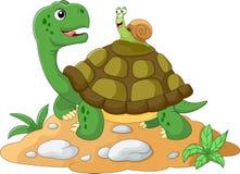 Escargot de jardin drôle rapportant un ascenseur sur une tortue illustration stock