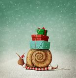 Escargot et cadeaux de Noël illustration stock