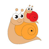 Escargot and her baby cartoon. Outlined character with black stroke Royalty Free Stock Photo