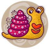 Escargot jaune avec de grandes lèvres Images stock
