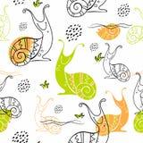 escargots Modèle sans couture dans le style scandinave griffonnages Vecteur illustration stock