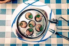 Escargots traditionnels avec du beurre d'ail Images libres de droits