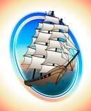 Escarlate do navio das velas em um círculo Tração do vetor Imagem de Stock Royalty Free