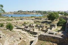 Escavação da reserva histórica e arqueológico Chersonese do pagamento de Chersonesos - imagens de stock royalty free