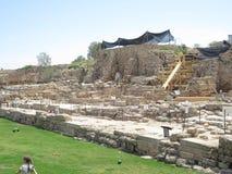 Escavações arqueológicos em Cesareia fotografia de stock