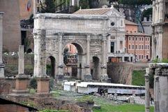 Escavações arqueológicos em Roman Forum, Roma, Itália Imagens de Stock Royalty Free