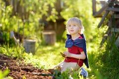 Escava??o do rapaz pequeno que trabalha com p? no quintal no dia ensolarado do ver?o Ajudante pequeno da mam? fotos de stock royalty free