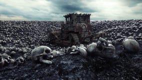 Escavadora e pilha velhas dos crânios Conceito do apocalipse e do inferno Animação 4k cinemático realística ilustração stock