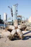 Escavadora que esmaga a construção Imagens de Stock