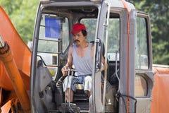 Escavatore al cantiere Immagine Stock