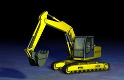 Escavatore a cucchiaia rovescia giallo Immagini Stock Libere da Diritti
