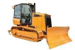 Escavatore del bulldozer, isolato su bianco con il percorso di ritaglio Immagine Stock