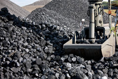Escavatore di caricamento del carbone, mucchi di carbone fotografie stock libere da diritti