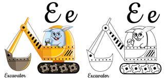 escavatore Lettera E, pagina di coloritura di alfabeto di vettore Illustrazione Vettoriale