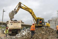 Escavatore nell'azione Fotografia Stock