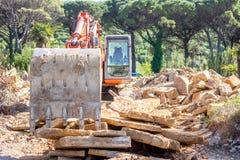 Escavatore pesante del organge Fotografie Stock Libere da Diritti