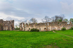 Escúdese Dobele, ruinas medievales del castillo de la orden de Livonian Fotografía de archivo