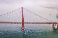 Escena aérea magnífica del puente de San Francisco Golden Gate Foto de archivo libre de regalías