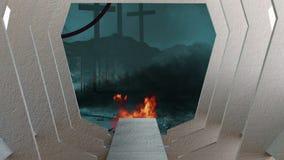 Escena apocalíptica de los posts ilustración del vector