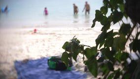 Escena apretada de la playa de la arena con la gente tur?stica irreconocible falta de definici?n, 4k, c?mara lenta metrajes