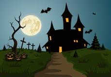 Escena asustadiza del fondo de Halloween con el castillo y la luna Imágenes de archivo libres de regalías