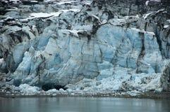 Escena azul de Alaska del detalle del primer de la bahía de glaciar del hielo Imagen de archivo