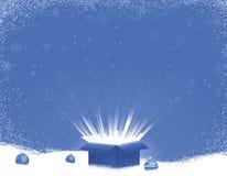 Escena azul del invierno de la explosión del rectángulo de regalo ilustración del vector