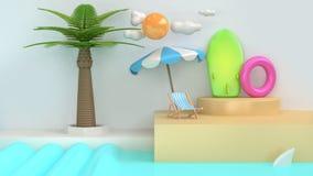 Escena blanca 3d de la historieta del estilo de la playa abstracta del mar rendir fotos de archivo libres de regalías
