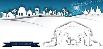 Escena blanca de la natividad de la silueta con unos de los reyes magos stock de ilustración