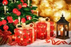 Escena brillante de la Navidad Imágenes de archivo libres de regalías