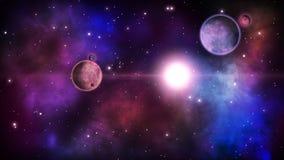 Escena cósmica fantástica con los planetas y las nebulosas estrelladas bucle stock de ilustración