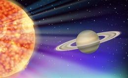 Escena con el sol y el planeta libre illustration