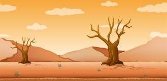 Escena con los árboles secados en campo del desierto libre illustration
