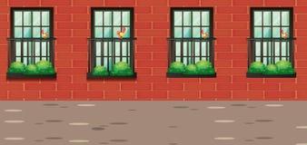 Escena con los pájaros en balcón libre illustration