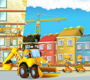 Escena con los trabajadores de construcción - excavador de la historieta - ejemplo para los niños Foto de archivo